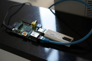 close-up raspberry pi and USB