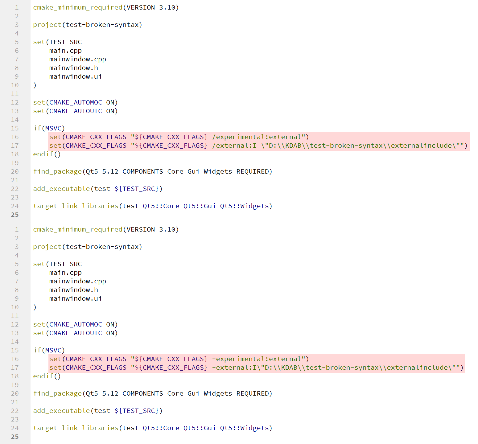 Screenshots of a CMake file which breaks syntax highlighting and one who doesn't