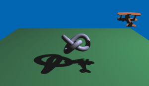 Shadow mapping in Qt3D. Note the self-shadowing of the plane and of the trefoil knot.